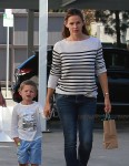 Jennifer Garner seen leaving Cake Mix with her son Samuel