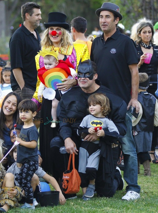 Molly Sims and husband Scott Stuber with kids Brooks and Scarlett at Halloween 2015