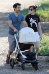 New parents Zooey Deschanel and husband Jacob Pechenik head out with their newborn Elsie Otter