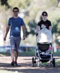 New parents Zooey Deschanel and husband Jacob Pechenik step out with their newborn Elsie Otter