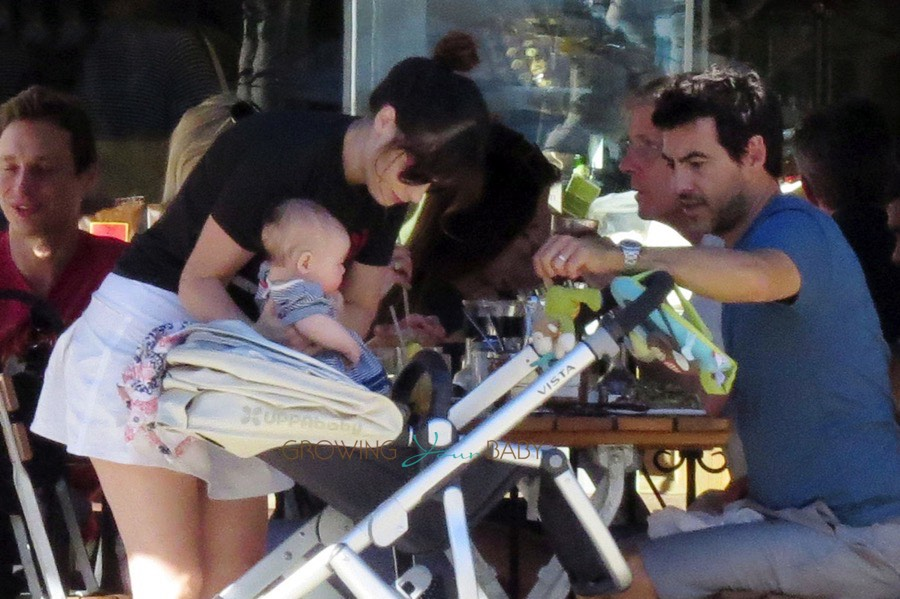 New Parents Zooey Deschanel And Husband Jacob Pechenik Step Out With Their Newborn Elsie Otter on baby car seat stroller