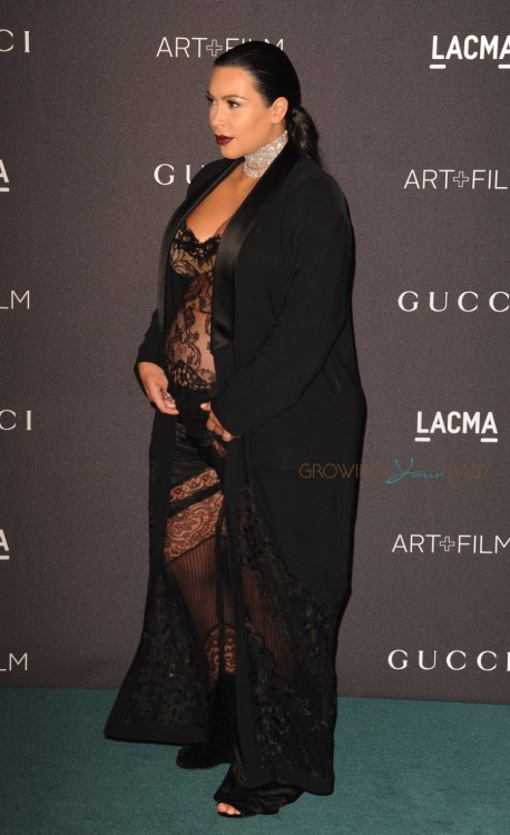 Pregnant Kim Kardashian West at the LACMA 2015 Art+Film Gala