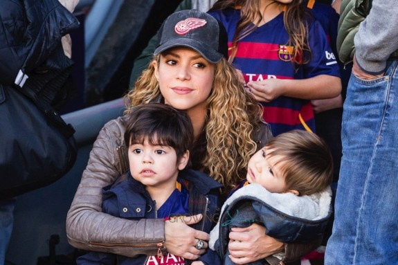 Shakira with sons Sasha and Milan at the La Liga match between FC Barcelona & Real Sociedad de Futbol
