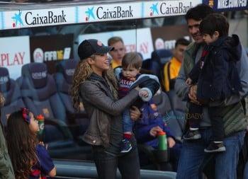 Shakira with sons Sasha and Milan at the La Liga match between FC Barcelona and Real Sociedad de Futbol