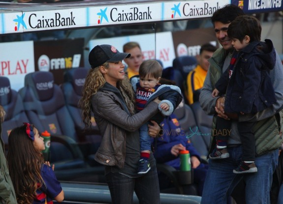 Shakira with sons Sasha and Milan at the La Liga match between FC Barcelona and Real Sociedad de Futbol