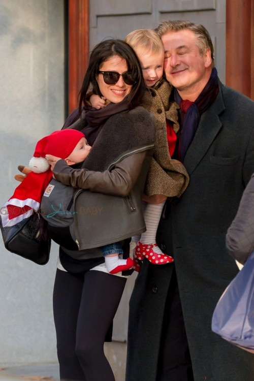 Alec Baldwin and his wife Hilaria Thomas seen out shopping with daughter Carmen & baby son Rafael in Madrid