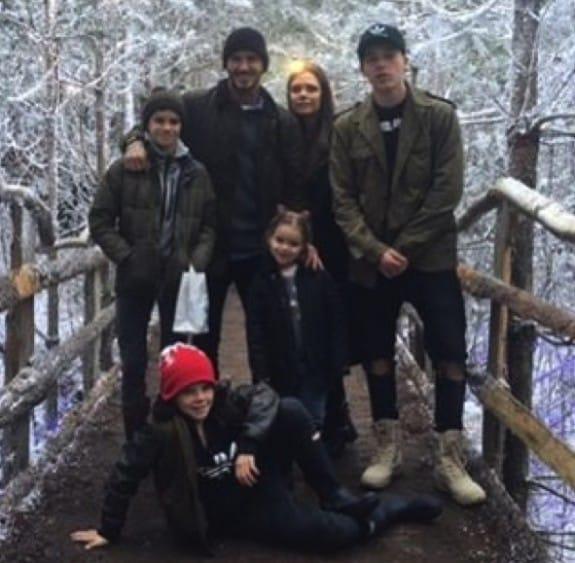 David and Victoria Beckham with kids Brooklyn, Harper, Cruz and Rome Christmas 2015