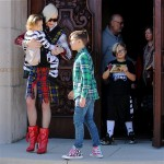 Gwen Stefani leaves church in LA with sons Kingston, Zuma and Apollo Rossdale
