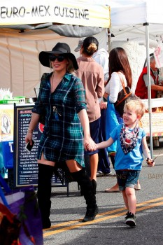 Hilary Duff goes shopping in Beverly Hills with her son Luca Comrie at the market