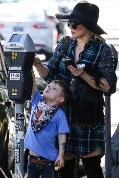 Hilary Duff goes shopping in Beverly Hills with son Luca Comie