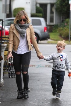 Hilary Duff seen shopping with her son Luca in LA
