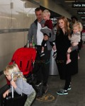 James Van Der Beek & wife Kimbery with kids Annabel, Olivia and Joshua at LAX