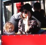 Jenna Dewan Tatum and Daughter Everly ride the train at the Farmer's Market