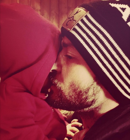 Justin Timberlake kisses his son Silas Christmas 2015
