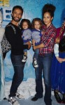 Kamar de los Reyes with sons John and Michael and wife Sherri Saum at the premiere of Disney On Ice's 'Frozen' at Staples Center LA