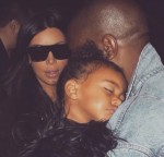 Kim Kardashian with husband Kanye West and daughter north