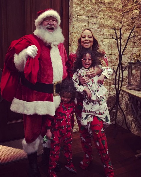 Mariah Carey with kids Monroe and Moroccan Cannon Christmas 2015