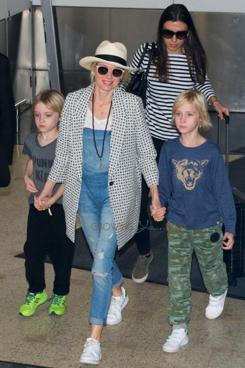 Naomi Watts arrives in Australia with sons Samuel and Alexander for the holidays