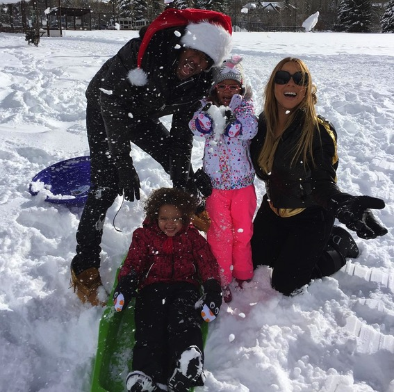 Nick Cannon and Mariah Carey with kids Monroe and Moroccan Cannon Christmas 2015