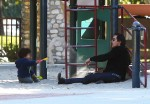 Olivier Martinez plays with his son Maceo Martinez at a park in Los Angeles on December 31, 2015