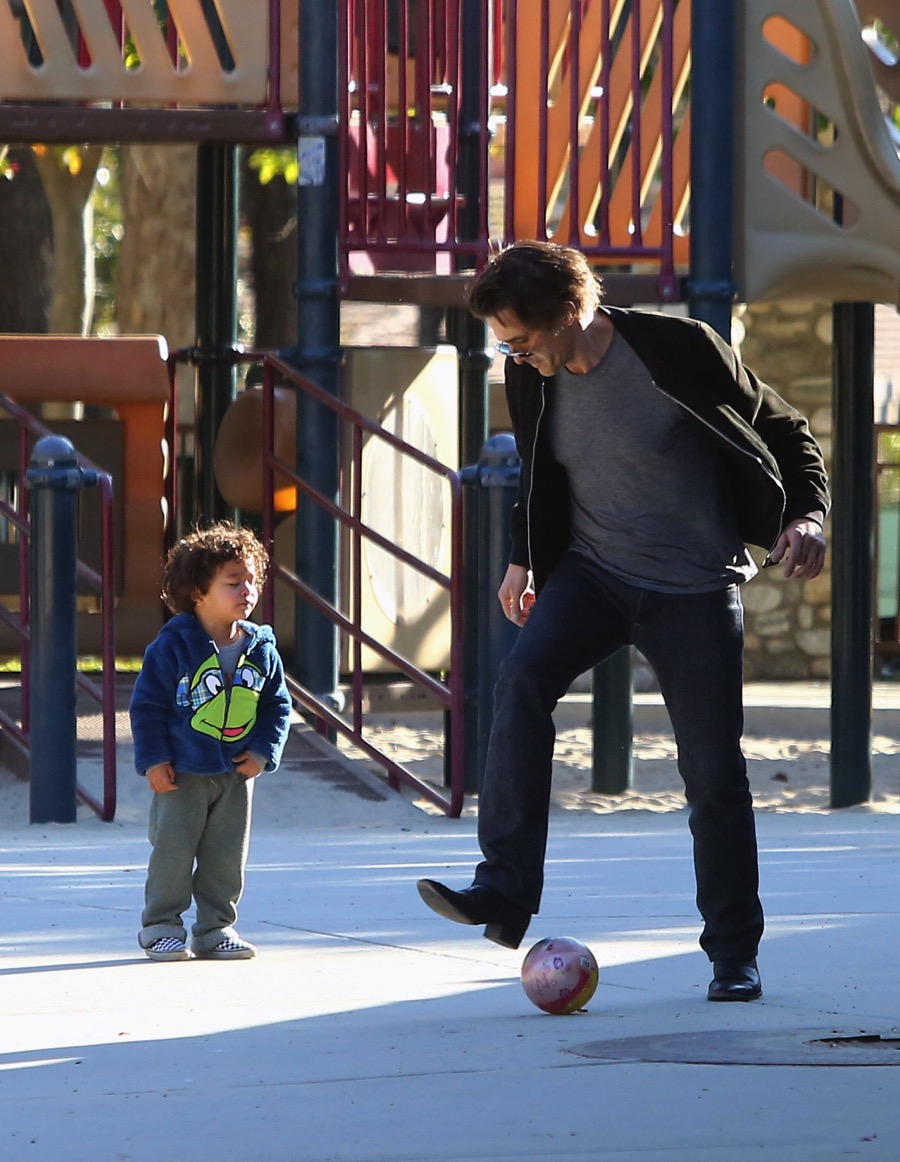 Olivier Martinez Plays With His Son Maceo Martinez At A