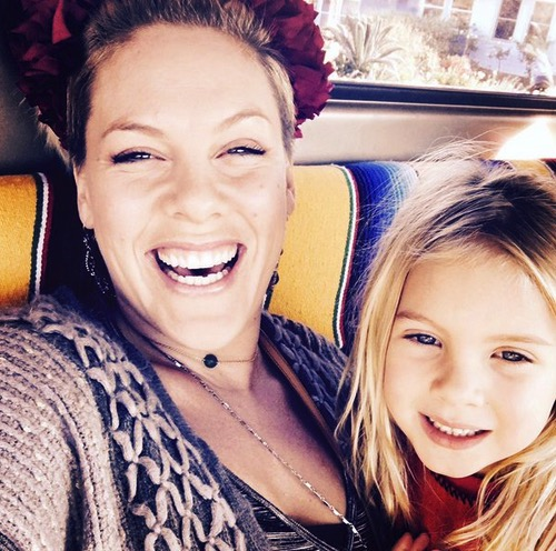 Pink with daughter Willow Hart Christmas 2015