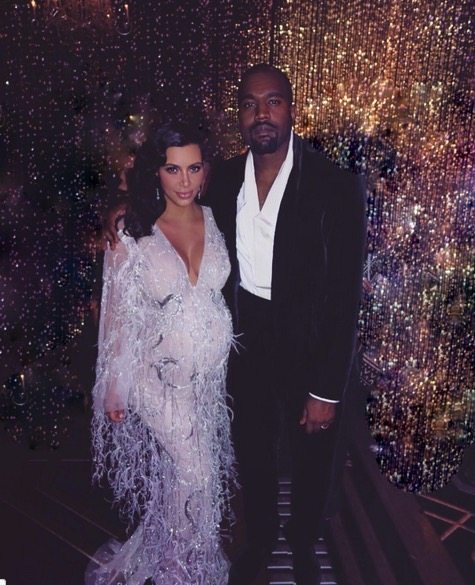 Pregnant Kim Kardashian and husband Kanye West at mom Kris's birthday party