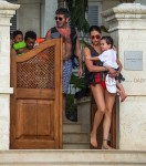 Simon Cowell and Lauren Silverman with son Eric Cowell on the beach in Barbados
