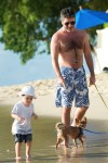 Simon Cowell walks the beach with son Eric Cowell