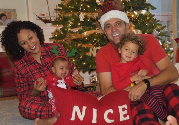 Tamera Mowry with husband Adam Housely and kids Aden and Ariah Christmas 2015