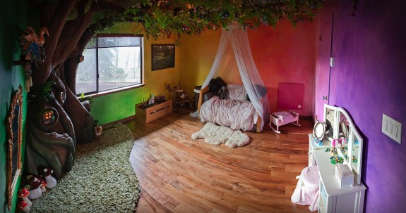 Dad Creates Magical Treehouse in Daughter's Room - AFTER