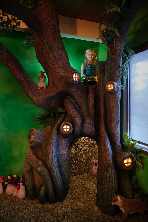 Dad Creates Magical Treehouse in Daughter's Room - IT'S CLIMBABLE