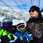 David Furnish with sons sons Elijah and Zachary at the Snowmass Village in Aspen