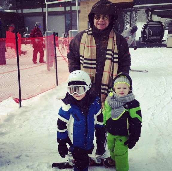 Elton John with sons Elijah and Zachary at the Snowmass Village in Aspen