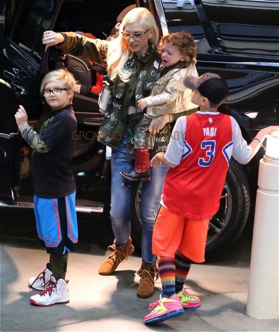 Gwen Stefani arrives at the movies with sons Apollo, Kingston and Zuma Rossdale