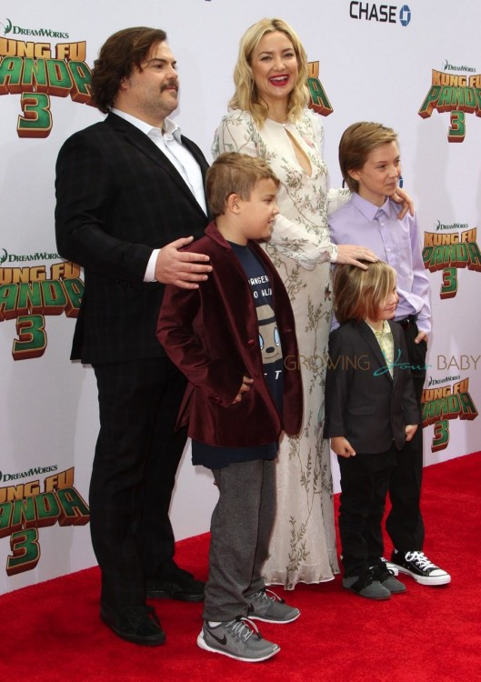 Jack Black, son Samuel Jason Black, Kate Hudson, Ryder Robinson, Bingham Robinson at Dream Works and Twentieth Century Fox present the World Premiere for Kung Fu Panda 3