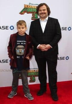 Jack Black, son Samuel Jason Black at Dream Works and Twentieth Century Fox present the World Premiere for Kung Fu Panda 3