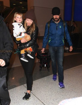 Jason Sudeikis & Olivia Wilde Arrive At LAX With Their Son Otis