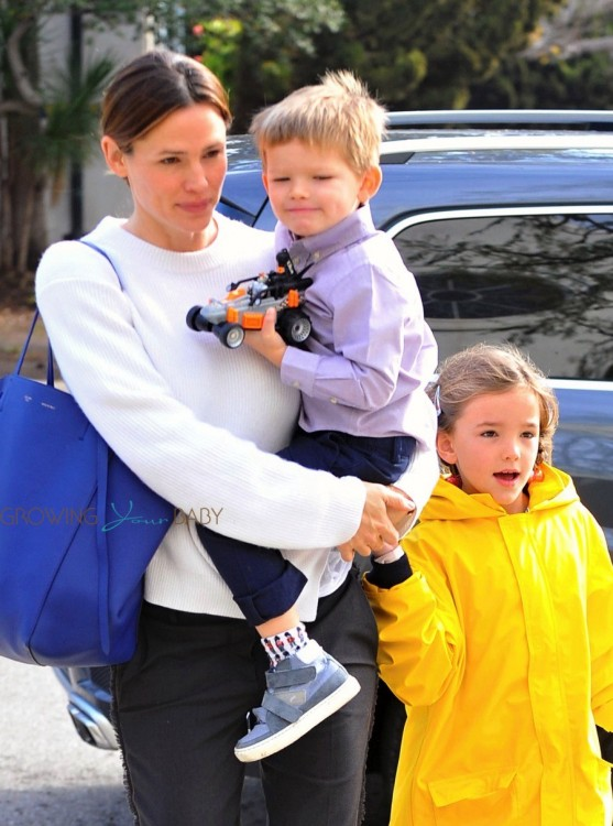 Jennifer Garner leaves church with her son Sam and daughter Seraphina Affleck