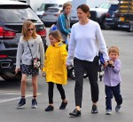 Jennifer Garner leaves church with her son Sam and daughters Violet and Seraphina Affleck