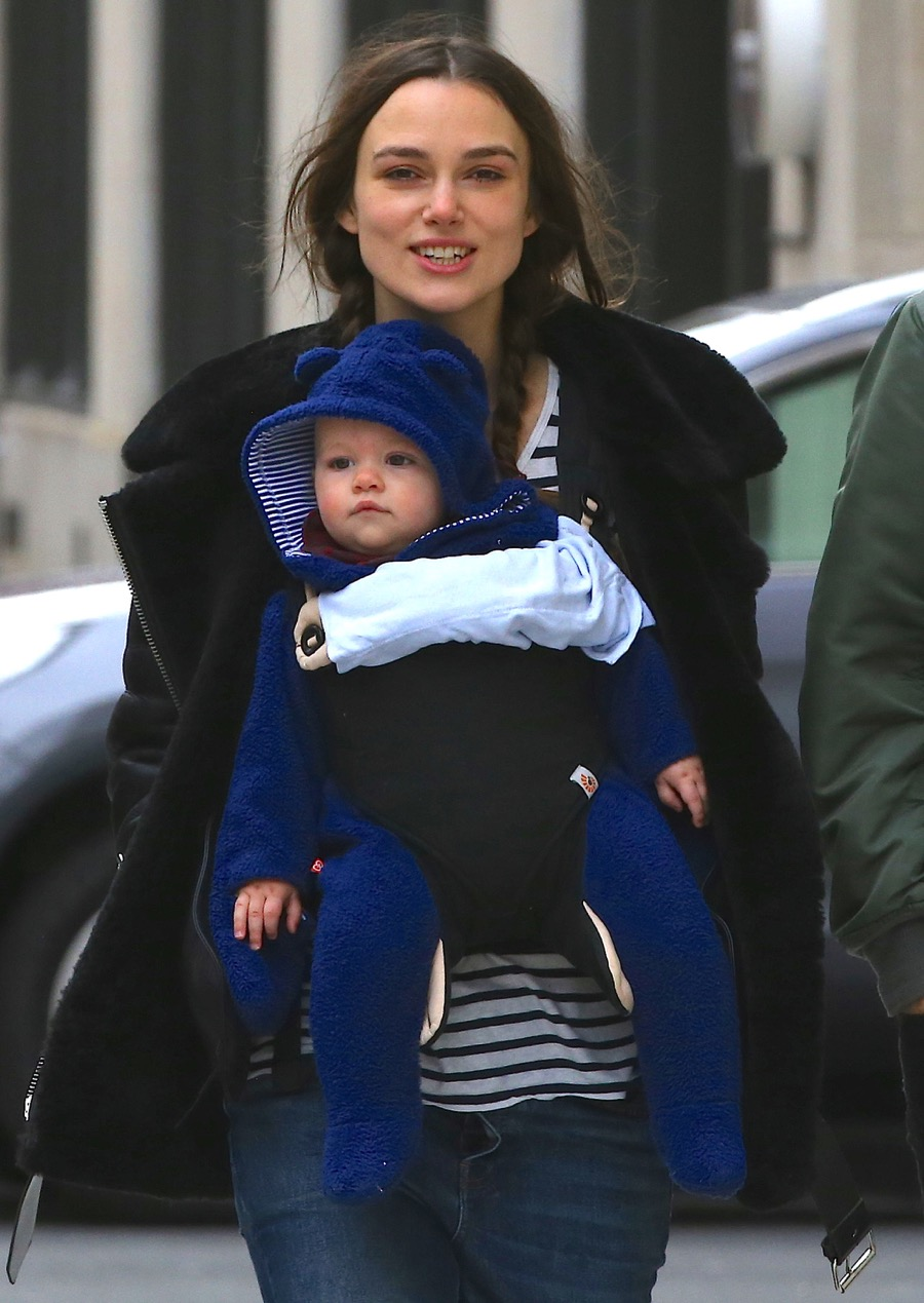 Keira Knightley takes a New Years Day stroll with her baby Edie