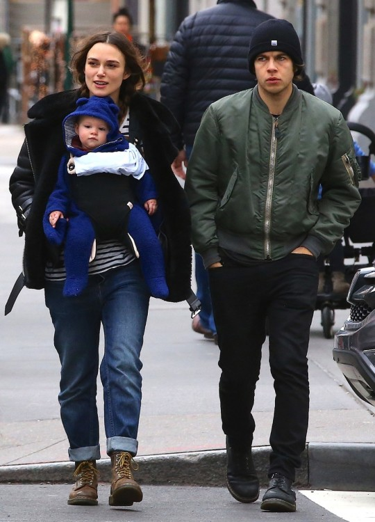 Keira Knightley takes a New Years Day stroll with her husband James Righton, their baby Edie