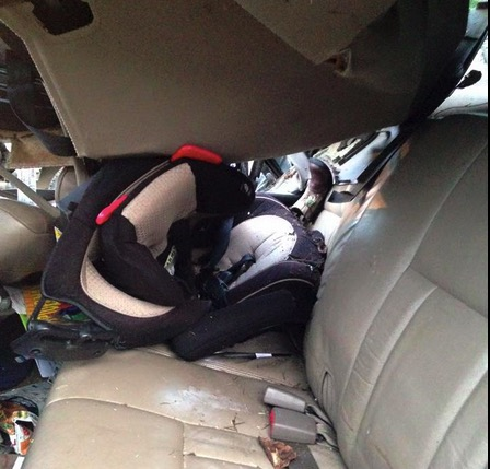Kylee Barrett's son's car seat after crash
