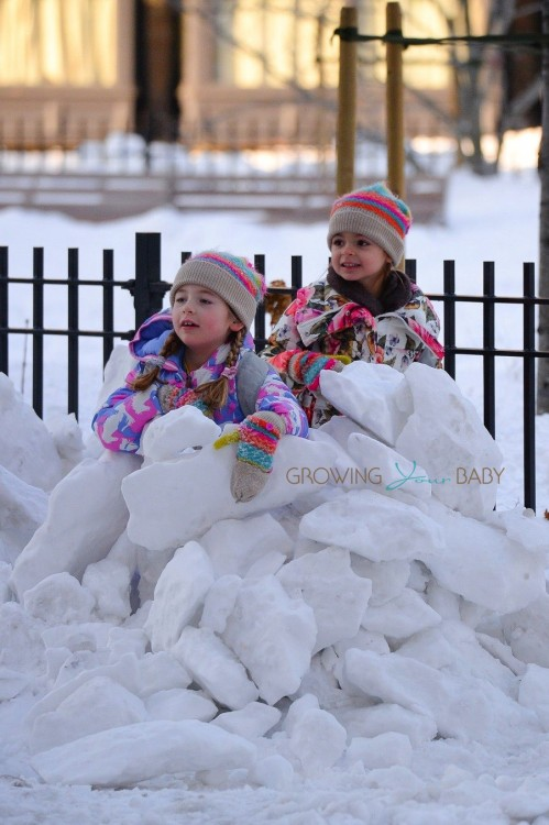 Sarah Jessica Parker's twins Tabitha and Marion enjoy a snowday in NYC