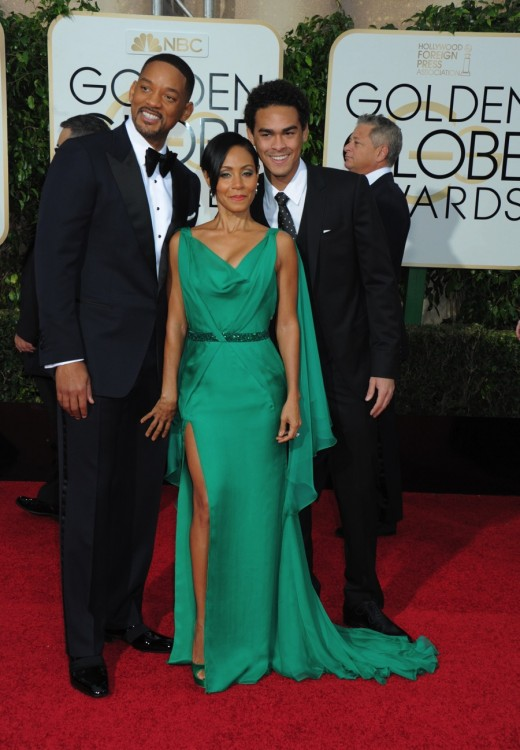 Will Smith and wife Jada with son Trey at the 73rd Annual Golden Globes Awards