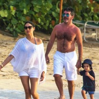 Simon Cowell Strolls on the Beach in Barbados With His Family