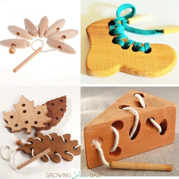 wooden caterpillar lacing toys