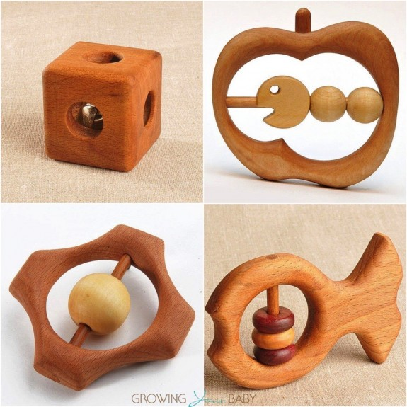 wooden caterpillar rattles