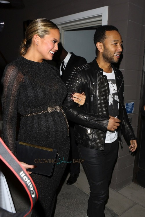Chrissy Teigen is a Glam-Mom-to-Be at Ouiai Haircare Party with husband John Legend