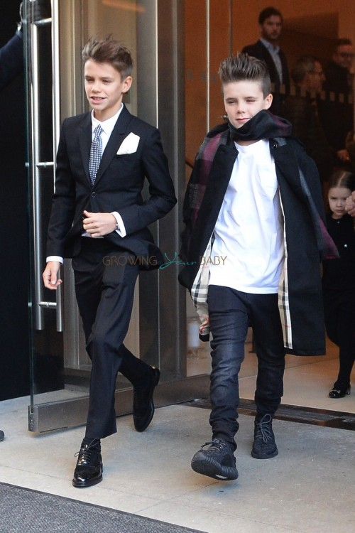 Cruz and Romeo Beckham leaving their hotel in NYC